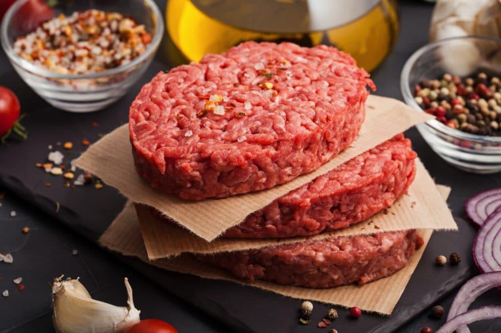 Homemade raw organic minced beef meat steak